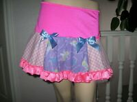 Pink Tinkerbell  Skirt Blue White Check Tutu Lolita Party Fairy Adult UK Made