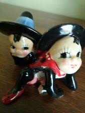 """Two Vintage Ladybug Fairy Pixie Elf Porcelain 2 1/2"""" Figurines - Japan"""
