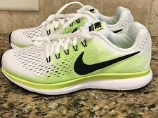 NIKE ZOOM PEGASUS 34 (GS) YOUTH RUNNING SHOES SIZE 3.5 BLK-WHITE-VLT-GHOST GREEN