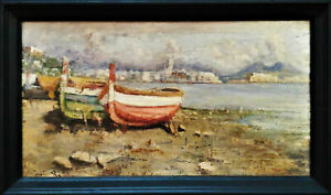 19th Fausto Pratella Italy Napoli 1888-1964 signed listed oil on board antique