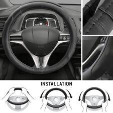 Black PU Leather Microfiber Non-Slip Steering Wheel Cover for Car Truck SUV