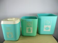 1950's Plastic Products Inc. Turquoise Canister Pieces Lot & Lustro-Ware