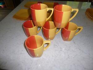 JC Penney Studio Color tones Red Orange Coffee Cup Mug Square