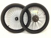 "20"" Bicycle Wheel Set, Front Rear 48 Spokes, 7-speed Freewheel, 2.125 Tires #H31"
