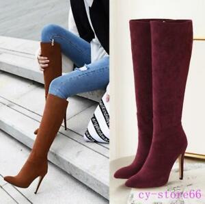 Fashion Women's Knee High Heel Stilettos Velvet Boots Fall Winter Riding Shoes