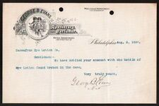 George B Evans Apothecary Perfume Philadelphia Pa 1895  Letterhead Rare