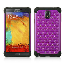 Purple / Black Hybrid Studded Diamond Case Cover For Samsung N900V Gal