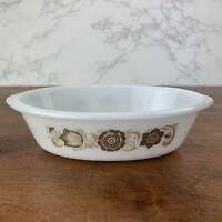 Glasbake Casserole Dish 1 quart oval  J-235 Milk Glass brown and beige flowers