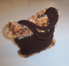 Hand Crochet Brown with Orange Varigated Fun Fur Yarn Trim Purse