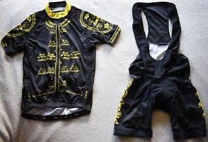 PRIMAL WEAR Cycling Kit Jersey Bib Shorts Mens L Race Cut Black Yellow NEW NWOT
