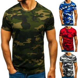 Mens Short Sleeve Camouflage Camo Tactical Military T-Shirt Slim Fit Army Combat