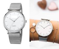 Armbanduhr Damen Metall Uhr Silber Weiß Elegant Klassisch Trend Analog Quarz ♥