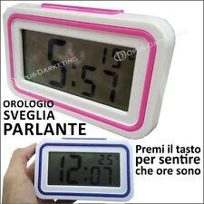 OROLOGIO SVEGLIA DIGITALE SCHERMO LCD PARLANTE TASTO AUDIO ITALIANO