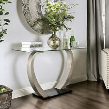 Modern Chic Contemporary Console Table Glass Top New
