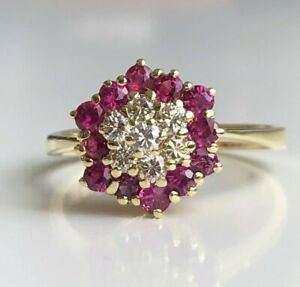 14k solid gold with Ruby & diamond cluster ring 3.28g size P -  7 1/2