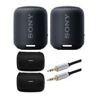 Sony SRS-XB12/B Extra Bass Portable Bluetooth Speaker (Black) STEREO Pair bundle