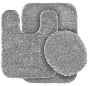 SOLID ASSORTED COLORS BATH RUG CONTOUR MAT TOILET LID COVER BATHROOM SET 3PC #6