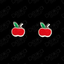 925 Sterling Silver Red Apple Mini Stud Earrings Studs Girls Child Women Men