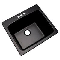 Drop In Single Bowl Kitchen Utility Sink 3-Hole 25 in. Laundry Room Tub Black