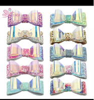 blue x 12clips bow UNICORN Hair clips
