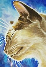 ACEO Original Art Card Cat Realistic Watercolor Painting Free Shipping