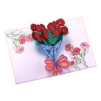 Valentine's Day Wedding 3D Red Rose Bouquet Flower Greeting Card Gift S