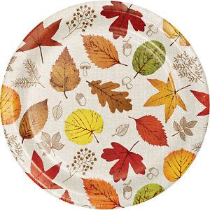 8 x Thanksgiving Autumn Harvest Paper Dessert Plates 18cm autumn Leaves Party