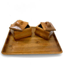 2 Anthroposophical Carved WoodenTea Caddies on a Wooden Tray