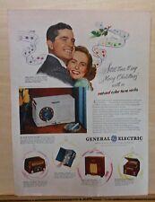 1947 magazine ad for G E radios - Dana Andrews & Teresa Wright, models 202, 60 +