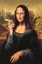 MONA LISA SMOKING JOINT - WEED POSTER - 24x36 DAVINCI POT MARIJUANA 3305