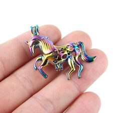 5PC Rainbow Unicorn Horse Pearl Beads Cage Locket Pendant For Wish Necklace Gift
