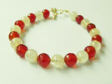 Carnelian and citrine gemstone bracelet with gold plated sterling silver toggle
