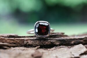 Sterling Silver Ring Garnet Cushion Gemstone 925 Fine Handmade Ring