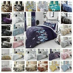 Printed Duvet Cover Set With Pillow cases Single Double Super King Size Luxury