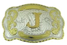 """Initial """"J"""" Letter Large Gold & Silver Rodeo Western Cowboy Metal Belt Buckle"""