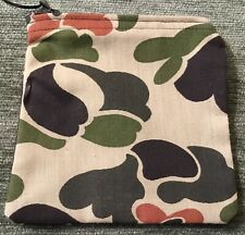 Handmade Green & Brown Camouflage Zipper Hunting, Travel Coin Purse, Pencil Bag