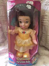 "Disney My First Princess Partytime Belle doll 18M Preschool soft NEW 2002 12"""