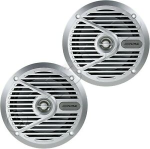 "ALPINE SPS-M601 MARINE BOAT AUDIO STEREO 6.5"" TYPE S 2-WAY SPEAKERS PAIR SILVER"