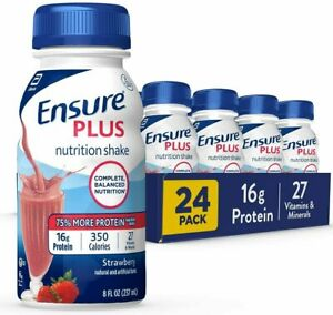 Ensure Plus Strawberry Nutrition Shake 22 - 8 FL OZ Bottles
