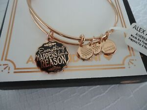 Alex and Ani EVERYTHING HAPPENS FOR A REASON Rose Bangle New W/Tag Card & Box