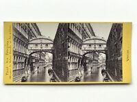 Venezia Pont Dei Sospiri Italia Fotografia Stereo Vintage Albumina