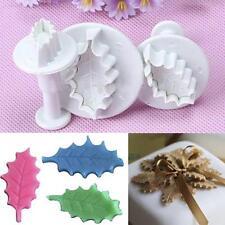 3pcs Plastic Fondant Cake Decorating Plunger Cutter Holly Leaf Shape DIY Mold