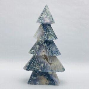 360g Natural Aquatic Agate christmas trees Quartz Crystal Carving Healing