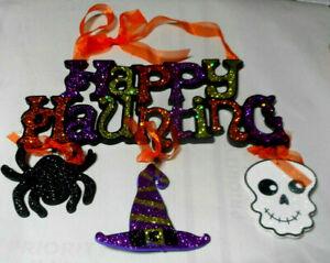 Glitter Wooden Halloween Sign Wall Door Hanging Skull Spider Happy Haunting B1