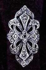 Langer Mittelalter Ring mit Markasit Silber Gothic Schmuck - NEU