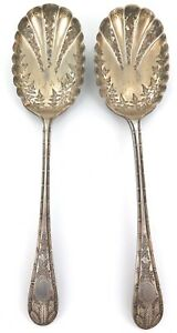 . 1882 QUALITY MATCHING PAIR ENGLISH EP BERRY SPOONS. JOHN ROUND & SON