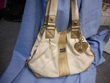 EXCELLENT KATHY VANZEELAND  VAN ZEELAND HANDBAG PURSE CREAM GOLD  CHARMS