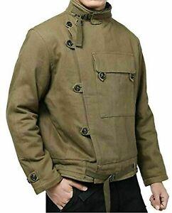 Mens Vintage Swedish Motorcycle Jacket Men's Winter Army Tank Coat Cotton Jacket