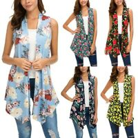 Women's Sleeveless Draped Open Front Cardigan Vest Asymmetric Hem Blouse Tops US
