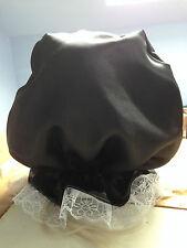 blindfold mask black out hood  fancy dress sissy maid black satin fetish slave